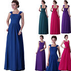 New Design Straps Ruched Long Chiffon bridesmaid Evening party Dress Size 6 - 20