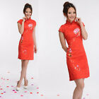 CF red Chinese style embroider Women's evening Dress Cheong-sam sz:6.8.10.12.14