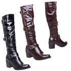 WOMENS LADIES MID HIGH BLOCK HEEL BUCKLE ZIP UP STRETCH WIDE KNEE HIGH BOOTS