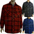 Mens Padded Quilted  Winter Warm Lumberjack Check  Work Shirt