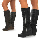 NEW WOMANS SLOUCH KNEE HIGH WEDGE HEEL BLACK BROWN BIKER BOOTS SIZE 3 4 5 6 7 8