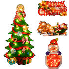 Glistening Fairy Light Up PVC Christmas Silhouette Festive Window Decoration New