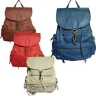 LYDC Womens Faux Leather Rucksack Backpack School Vintage College Retro Zipper