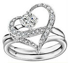 1 Pair Fashion New Girl  Austria Crystal Silver Heart Design Ring For Party Gift