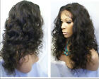 "Malaysia Curly 10""-22"" full/front lace wig 100% remy human hair 1b# natual black"