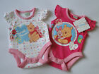 2 Pack white/Pink Official Disney Babygrow,Baby Body Suit,Winnie the Pooh/Piglet