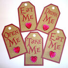5 Alice in wonderland MIXED Vintage Tags PINK BLING HEART Mad Hatter's Tea Party