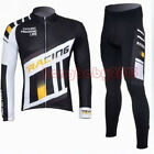 Fleece Thermal Cycling Bike Bicycle Clothing Men Long Sleeve Jersey +Pants M-3XL