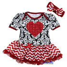 Baby Girls Red Rose Heart Black Damask Chevron Romper Bodysuit Pettiskirt NB-18M