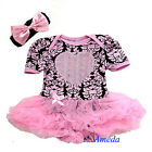 Baby Girls 3D Rosettes Heart Pink Brown Damask Romper Bodysuit Pettiskirt NB-18M