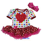 Baby Girls Red 3D Rose Heart Colorful Hearts Romper Bodysuit Pettiskirt NB-18M