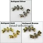 40pcs Antique Silver/Golden/Bronze Zinc Alloy Bowknot Shaped Charms Connectors