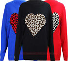 V32 NEW WOMEN LADIES ANIMAL LEOPARD HEART DESIGN WINTER PLUS SIZE JUMPER DRESS