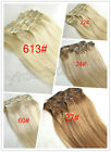 Full Head size Clip in 100% remy human hair extensions Any blonde color straight
