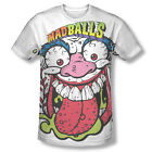Official Mad Balls Toy Logo Baseball Head ALL OVER Sublimation White T-shirt Top
