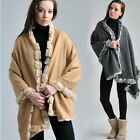 Free Shipping New Winter 100% Wool With Four Sides Rabbit Fur Shawl Scarf Warm