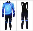 "New Men's""Thunderbolt""Cycling Long Sleeve Jersey+BIB Tights With 6D Padded M-XXL"