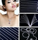 10pcs 8 Sizes Chic 925 Sterling Silver Chain Lobster Clasp Necklace Fit Pendant
