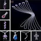 Chic Crystal Amethyst 925 Sterling Silver Dangle Pendant Necklace Jewelry Chains