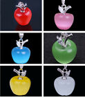 Women Cute Apple Crystal 925 Sterling Silver Jewelry Dangle Pendant F Necklace