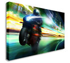 MOTORBIKE SPEED FUNKY CANVAS PRINT POP ART MANY SIZES TO CHOOSE FROM