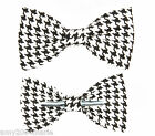 Black / White Houndstooth Clip On Bow Tie