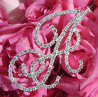Silver Crystal Bridal Wedding Initial Bouquet Jewelry Monogram Letter A-Z