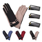Ladies Womens Girls Short Warm Wool Smooth Contrast Colour Bow Winter Gloves