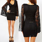Women Boho Black Plunging V Neck Bodycon Fit Sheer Lace Bell Sleeves Short Dress