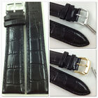 HQ BLACK 16mm 17mm ITALY GLOSSY CROC GRAIN LEATHER WATCH BAND STRAP w/CLASP