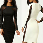 Sexy Women Bandage Dress Mesh Cut Out Long Sleeve Party Clubwear Dress NEW