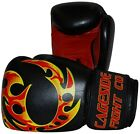 "Cageside ""INFERNO"" Muay Thai Boxing Gloves, Genuine Leather 16oz fire flames"