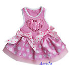 Valentine's Day Light Pink Polka Dots Bling Heart Party Dress Pet Dog Clothes