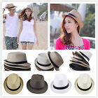 Pick Colors Unisex Fedora Trilby Gangster Cap Lovers Beach Sun Straw Panama Hats