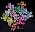 50pcs Assorted Color Faceted Acrylic Butterfly Spacer Beads Charms 18x14mm