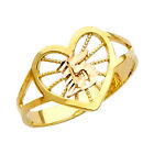 14K Solid Gold Sweet Quinceanera 15 Anos Heart Birthday Ring