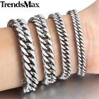 6.5/9/11/13mm Mens Chain Curb Rombo Link Silver Tone Stainless Steel Bracelet