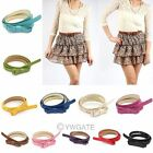 Women's Fashion  Korean Candy Color PU Faux Leather Bow Tie Long Lank Cute Belt