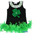 Baby Girls St Patricks Day Shamrock Green Feather Black Party Dress 1-7Y