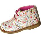 Girls Pink Floral Chatterbox Lace Up Boots Shoes Hi Tops Size 6 7 8 9 10 11 12
