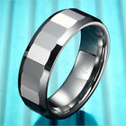 Classic Mens Tungsten Silver Ring Engagement Wedding Anniversary Band 8mm