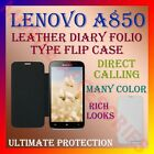LEATHER DIARY FOLIO FLIP FLAP CASE for LENOVO A850 MOBILE FRONT & BACK COVER NEW