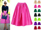 Neon Pleated Midi mid-Calf Maxi Full Skirt Satin Prom Faille Atlantic Pacific