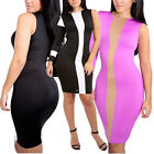 Ladies Center Cut Out Pattern Contrast Bodycon Dress One Shoulder Sleeveless
