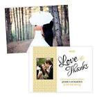 Personalised wedding thank you cards WHITE GOLD DAMASK PHOTO FREE ENVELOPES & DR