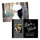 Personalised wedding thank you cards BLACK WHITE DAMASK PHOTO FREE ENVELOPES & D