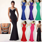 Sexy Slim Mermaid V-Neck Party Long Formal Evening Ball Gown Party Prom Dresses