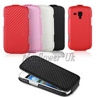 SLIM FLIP COVER CASE POUCH PU LEATHER CARBON FIBER FOR VARIOUS SAMSUNG PHONES