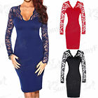 Womens Celeb Ladies Bodycon Navy Black Long Sleeve Lace Midi Evening Party Dress