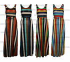 Womens Ladies Stripes  Evening Cocktail Long Maxi Casual Formal Wear Dress Belt